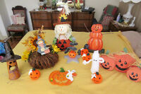 Halloween Decorations - Pumpkin displays Ghost dolls Tin Witch..