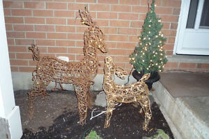 Adorable Grapevine Lighted Outdoor Christmas Reindeer