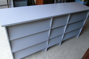 Moving- Large Grey Dresser with 9 drawers.