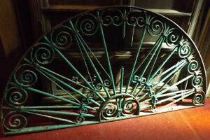 Antique Round-Top WROUGHT IRON WINDOW GRILLE from Cambridge, Ont