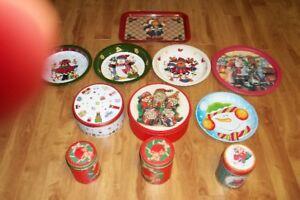 11 Piece Christmas Tin & Serving Tray Set.