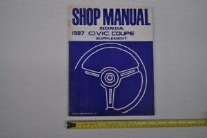 1987 Honda Civic Coupe Shop Manual Supplement