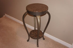 Marble Accent Table / Plant Stand with Shelf