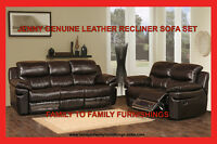 **FREE GIFT EVENT** JENNY LEATHER RECLINER SOFA SET