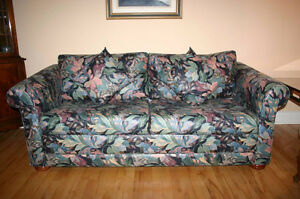 Moving Sale - Black Floral Sofa Bed from Smoke-Free Home