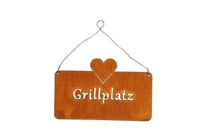 Schild Gartendeko Grillplatz edel Rost Vintage Hängedeko Landhaus Shabby 25cm