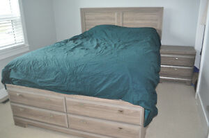 Bed frame with headboard & nightstand