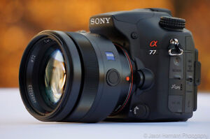 Sony A77 DSLR, 70-200mm, 10-20mm, 50mm, and more