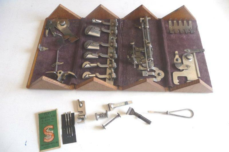 Antique 1889 Singer Sewing Machine Parts Needles Attachments In Puzzle Wood Box