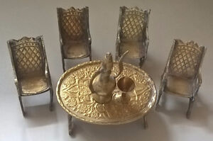 Vintage Brass Dollhouse Miniature Dining Set
