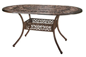 Tucson Oval Cast Aluminum Dining Table - Shiny Copper - NEW