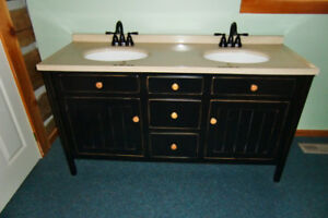 Vanity Double Sink with Mirrors