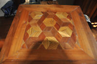 Unique - square table with inlaid woods $50