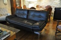 Pair of Convertible Sofa (Leather) - Excellent condition.