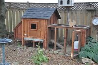Custom built Chicken Coop. Comes with3 1 yr old Laying Hens