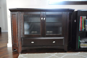 """Buhler Solid Chocolate Maple Corner Tv Stand- Fits upto 50"""" TV's"""