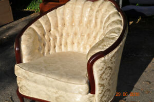 COUCH, FRENCH PROVINCIAL AND CHAIR.  IN EXC. CONDITION.