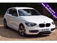 2013 13 BMW 1 SERIES 2.0 116D SPORT 3D 114 BHP DIESEL, NEW SERVICE, MOT, £30 TAX
