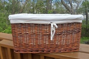2 Large size Wicker Baskets-- with Liners