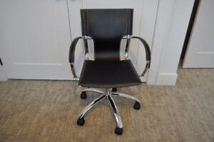 Black Leather modern desk chair on wheels - like new