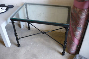 Metal Table Black Glass Top Wrought Iron Modern Used Painted
