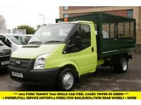 2012 FORD TRANSIT 350 SINGLE CAB CAGE TIPPER IN GREEN WITH TWIN REAR WHEELS,6 SP