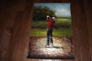 Swinging Golfer Oil Painting