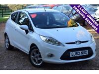 2012 62 FORD FIESTA 1.2 ZETEC 3D 81 BHP (CITY PACK), 2 LADY OWNERS, NEW SERVICE