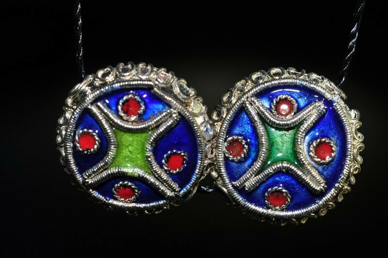 2Pcs Asian Flair~Vintage Chinese CLOISONNE Lapis Blue Coin Disc Beads O0846