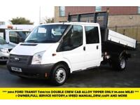 2014 FORD TRANSIT 350/125 DOUBLE CREW CAB ALLOY TIPPER WITH ONLY 36.000 MILES TI