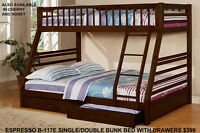 SINGLE OVER DOUBLE BUNKS GREAT STYLES AT MIKES STARTING $399