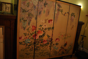 Antique Hand-Painted Japanese Screen Room Divider