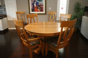 Solid wood dining set.