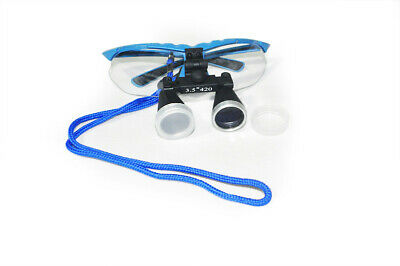 Dental Surgical Binocular Loupe Magnifier Glasses 3.5x420mm Loupe Blue Dentist