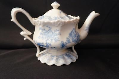 FIB Burton and Burton Blue and Ivory Fancy Toile Teapot 6.5 X 9.25