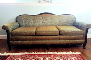 Antique Edwardian or 1920s Camelback Sofa & Club Chair