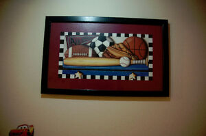 SPORTS THEMED FRAMED PICTURES