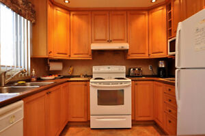 Excellent condition maple kitchen cabinets + counter