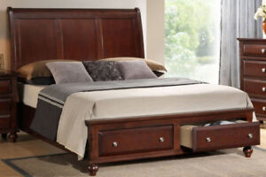 Queen Sleigh Bed with 2 drawers for Storage