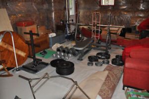 Impulse Olympic Flat Bench + 300 lb Olympic Barbell Set + MORE