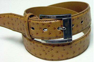 Leather Jean Casual Belt - New Mens Tan Ostrich Leather Jean Casual Belt TN