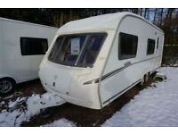 2008 ABBEY VOGUE 600 6 BERTH TWIN AXLE CARAVAN - END WASHROOM - FIXED BUNKS