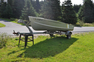 14' Aluminum Boat, motor and trailer for sale.