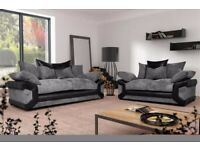 🔵💖TOP QUALITY🔵💖🔴DINO JUMBO CORD FABRIC CORNER SOFA SUITE / 3 & 2 SEATER in black and grey only