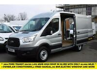 2014 FORD TRANSIT 310/155 L2H2 MWB HIGH ROOF DIESEL VAN IN SILVER WITH ONLY 48.0
