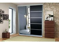 Brand New 2 Door Vision Sliding Wardrobe Full Mirrored Size 150cm/200cm - Fast Delivery -