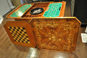 Italian Marquetry Inlaid Wood Gambling/Gaming Table