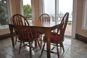 Kitchen table set solid oak
