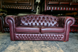 Rare Plum Chesterfield 3 Seater Sofa