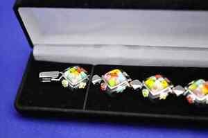 Millacreli Black and Multi-Color Square Pendant and Bracelet Set